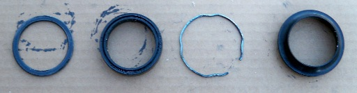 fork seal washer, seal, retaining wire, dust cap